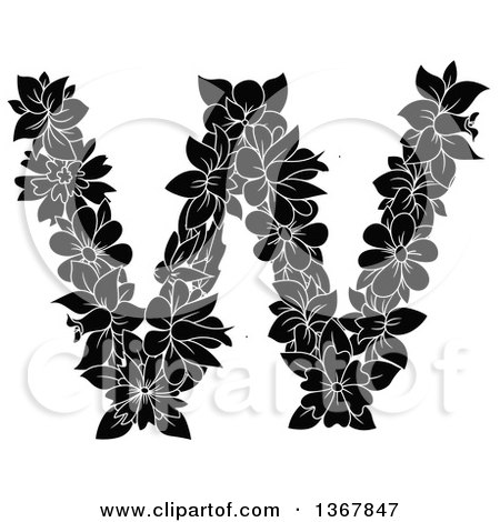 Clipart of a Black and White Floral Uppercase Alphabet Letter W - Royalty Free Vector Illustration by Vector Tradition SM