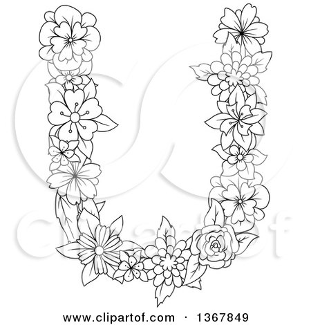 Clipart of a Black and White Lineart Floral Uppercase Alphabet Letter U - Royalty Free Vector Illustration by Vector Tradition SM