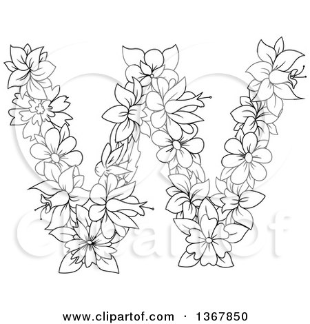 Clipart of a Black and White Lineart Floral Uppercase Alphabet Letter W - Royalty Free Vector Illustration by Vector Tradition SM