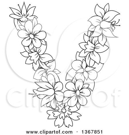 Clipart of a Black and White Lineart Floral Uppercase Alphabet Letter V - Royalty Free Vector Illustration by Vector Tradition SM