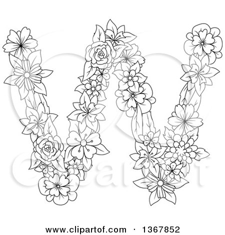 Clipart of a Black and White Lineart Floral Lowercase Alphabet Letter W - Royalty Free Vector Illustration by Vector Tradition SM