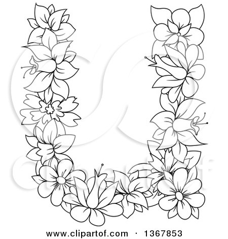 Clipart of a Black and White Lineart Floral Lowercase Alphabet Letter U - Royalty Free Vector Illustration by Vector Tradition SM