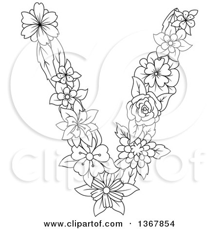 Clipart of a Black and White Lineart Floral Lowercase Alphabet Letter V - Royalty Free Vector Illustration by Vector Tradition SM