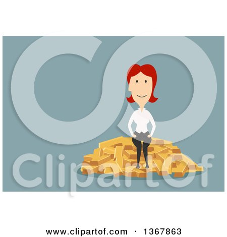 Clipart of a Flat Design White Business Woman Sitting on Gold Bars, on Blue - Royalty Free Vector Illustration by Vector Tradition SM