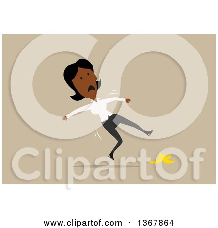 Clipart of a Flat Design Black Business Woman Slipping on a Banana Peel, on Tan - Royalty Free Vector Illustration by Vector Tradition SM
