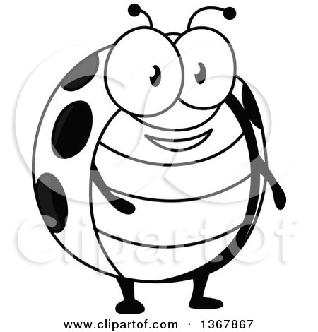 Clipart of a Cartoon Black and White Happy Ladybug - Royalty Free Vector Illustration by Vector Tradition SM