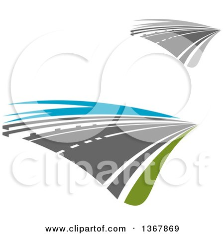 Clipart of Two Lane Straightaway Highway Roads - Royalty Free Vector Illustration by Vector Tradition SM