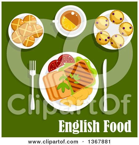 Clipart of Roast Beef, Roast Potato, Grilled Toast and Tomatoes, Cup of Tea with Lemon, Scones with Currants and Hot Cross Buns over English Food Text on Green - Royalty Free Vector Illustration by Vector Tradition SM