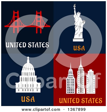 Clipart of United States Travel Designs - Royalty Free Vector Illustration by Vector Tradition SM