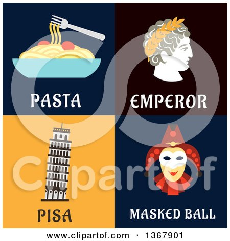 Clipart of Pasta, Emperor, Pisa and Masked Ball Designs - Royalty Free Vector Illustration by Vector Tradition SM