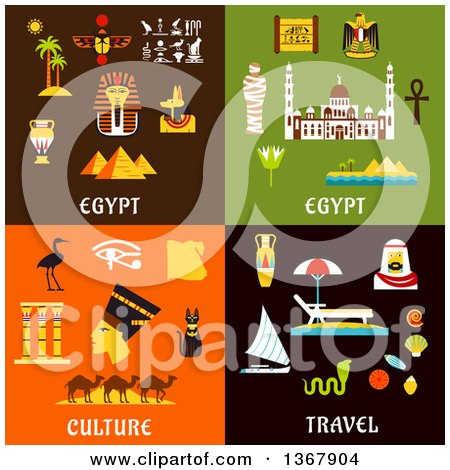 Clipart of Egypt Travel Designs - Royalty Free Vector Illustration by Vector Tradition SM