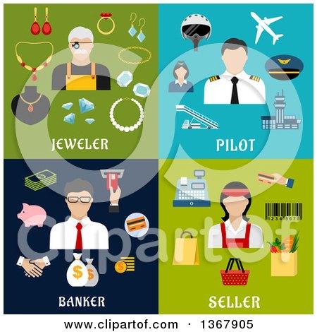 Flat Design Jeweler, Pilot, Banker and Seller Designs Posters, Art Prints