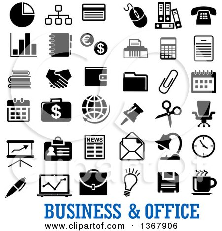 Black and White Business and Office Icons with Text Posters, Art Prints