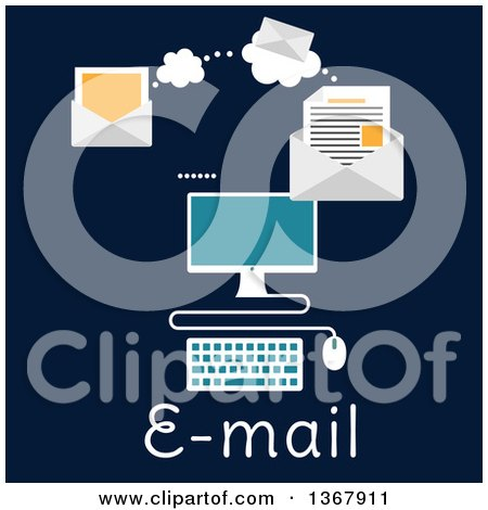 Clipart of a Desktop Computer Sending an Email over Text on Blue - Royalty Free Vector Illustration by Vector Tradition SM