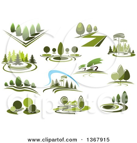 Clipart of Green Park Landscapes - Royalty Free Vector Illustration by Vector Tradition SM