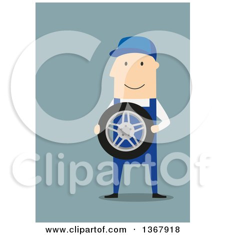 Clipart of a Flat Design White Male Mechanic Holding a Tire, on Blue - Royalty Free Vector Illustration by Vector Tradition SM