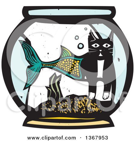 Clipart of a Woodcut Half Cat Half Fish in a Bowl - Royalty Free Vector Illustration by xunantunich
