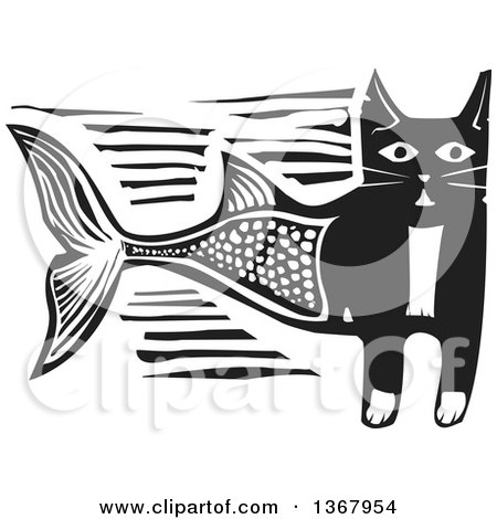 Clipart of a Black and White Woodcut Half Cat Half Fish - Royalty Free Vector Illustration by xunantunich