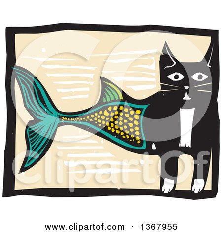 Clipart of a Woodcut Half Cat Half Fish - Royalty Free Vector Illustration by xunantunich
