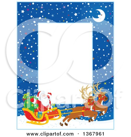 Clipart of a Vertical Christmas Frame Border of a Crescent Moon, Snow and Santa with His Magic Reindeer and Sleigh - Royalty Free Vector Illustration by Alex Bannykh