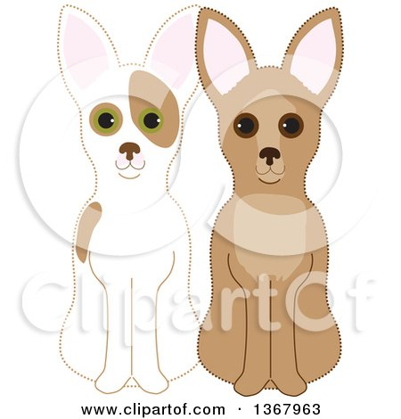 Clipart of Sitting Fawn and Red and White Chihuahuas - Royalty Free Vector Illustration by Maria Bell