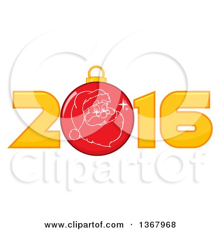 Clipart of a Santa Face on a Christmas Bauble in a New Year 2016 - Royalty Free Vector Illustration by Hit Toon