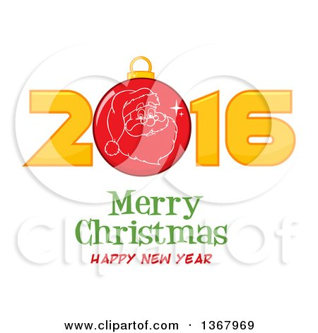 Clipart of a Santa Face on a Bauble in a Red New Year 2016 over Merry Christmas Happy New Year Greeting - Royalty Free Vector Illustration by Hit Toon