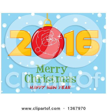 Clipart of a Santa Face on a Bauble in a Red New Year 2016 over Snow and a Merry Christmas Happy New Year Greeting on Blue - Royalty Free Vector Illustration by Hit Toon
