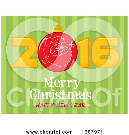 Clipart of a Santa Face on a Bauble in a Red New Year 2016 over Merry Christmas Happy New Year Greeting and Green Stripes - Royalty Free Vector Illustration by Hit Toon