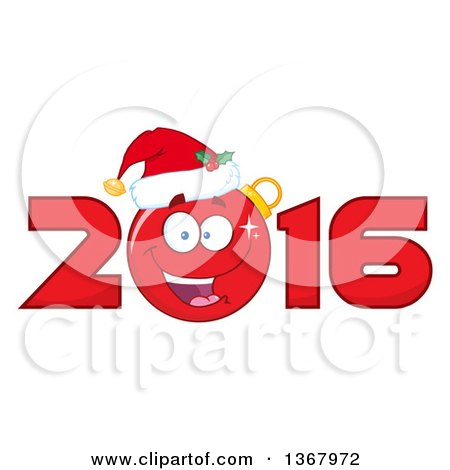 Clipart of a Happy Christmas Bauble Ornament Character Wearing a Santa Hat in a Red New Year 2016 - Royalty Free Vector Illustration by Hit Toon