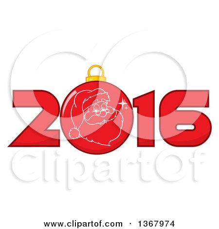 Clipart of a Santa Face on a Christmas Bauble in a Red New Year 2016 - Royalty Free Vector Illustration by Hit Toon