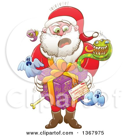 Clipart of a Cartoon Shocked Santa Holding a Gift from Halloween Creepies to Himeself - Royalty Free Vector Illustration by Zooco