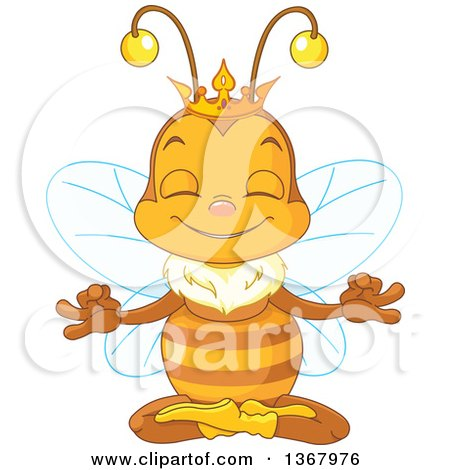 Clipart of a Cute Bee Wearing a Crown and Meditating - Royalty Free Vector Illustration by Pushkin