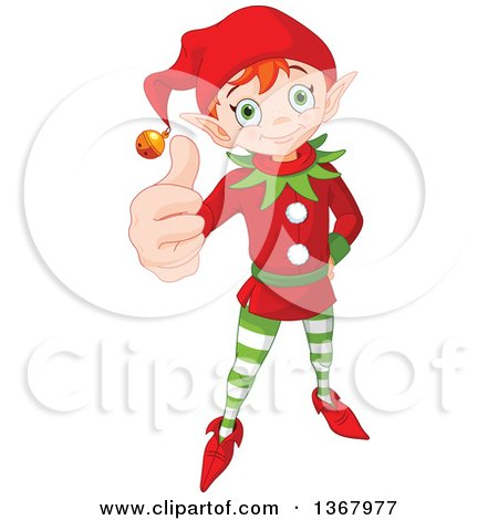 Clipart of a Cute Red Haired Christmas Elf Holding up a Thumb - Royalty Free Vector Illustration by Pushkin