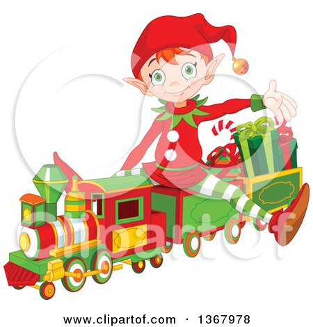 Clipart Of A Cute Red Haired Christmas Elf Presenting And Sitting On A Toy Train Royalty Free Vector Illustration
