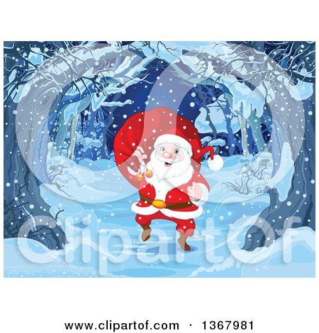 Clipart of a Merry Santa Claus Carrying a Sack over His Shoulder and Walking on a Tree Lined Path on a Snowy Christmas Eve - Royalty Free Vector Illustration by Pushkin