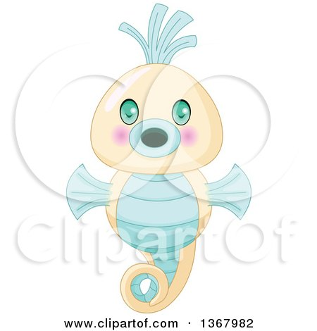 Clipart of a Cute Baby Seahorse - Royalty Free Vector Illustration by Pushkin