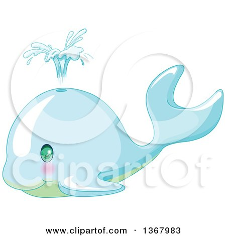 Clipart of a Cute Baby Whale Spouting - Royalty Free Vector Illustration by Pushkin