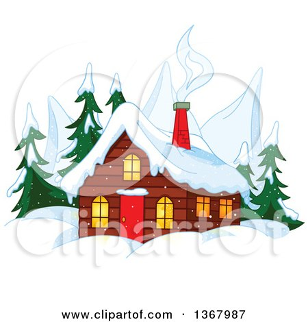 Clipart of a Winter Cabin with Smoke Rising from the Chimneys, Mountain Peaks and Evergreens - Royalty Free Vector Illustration by Pushkin