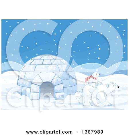 Clipart of a Cute Baby Polar Bear Cub Riding on the Back of an Adult by an Igloo in the Snow - Royalty Free Vector Illustration by Pushkin