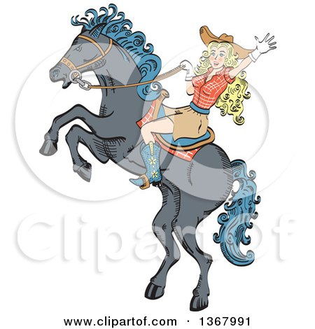 Clipart of a Retro Blond Caucasian Cowgirl Waving and Riding a Rearing Horse - Royalty Free Vector Illustration by Andy Nortnik