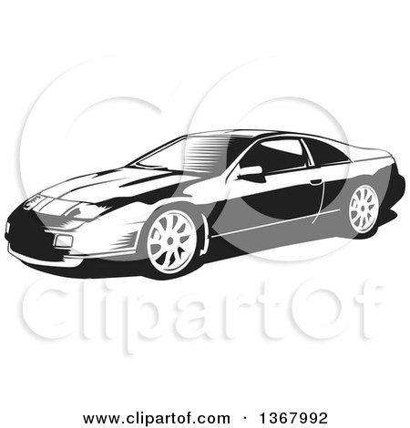 Clipart of a Black and White Woodcut Nissan 300zx Sports Car - Royalty Free Vector Illustration by David Rey
