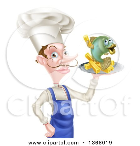 Clipart of a White Male Chef with a Curling Mustache, Holding a Fish and Chips on a Tray - Royalty Free Vector Illustration by AtStockIllustration