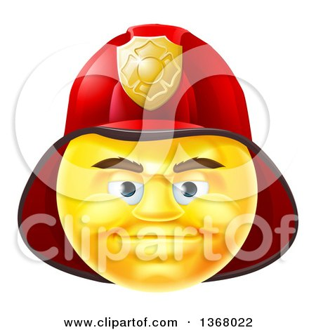 Clipart of a 3d Yellow Male Fireman Smiley Emoji Emoticon Face Wearing a Helmet - Royalty Free Vector Illustration by AtStockIllustration