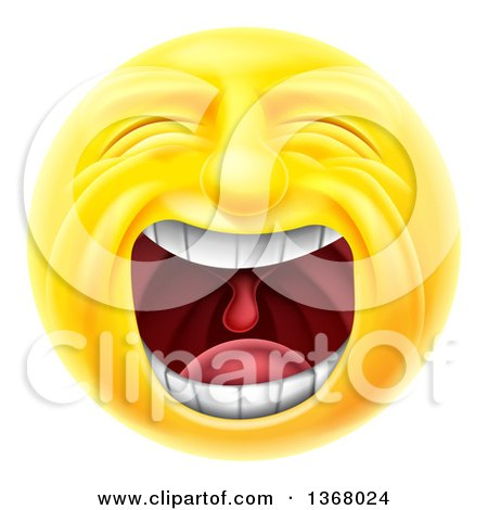 Clipart of a 3d Yellow Male Smiley Emoji Emoticon Face Screaming - Royalty Free Vector Illustration by AtStockIllustration