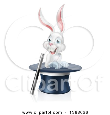 Clipart of a Happy White Rabbit in a Top Hat with a Magic Wand - Royalty Free Vector Illustration by AtStockIllustration