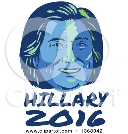 Clipart of a Retro Portrait of Hillary Clinton over Text - Royalty Free Vector Illustration by patrimonio