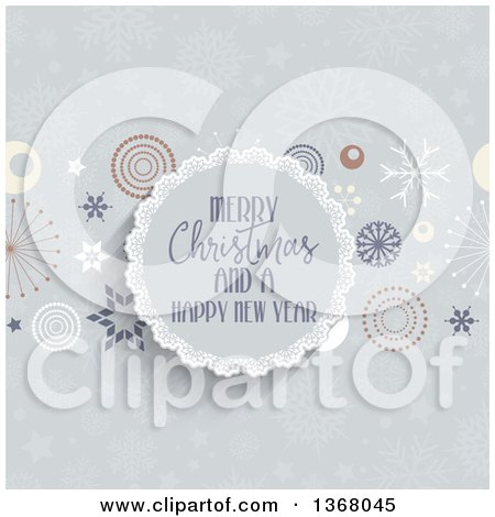 Clipart of a Merry Christmas and a Happy New Year Greeting in a Round Frame with Retro Stars and Snowflakes - Royalty Free Vector Illustration by KJ Pargeter