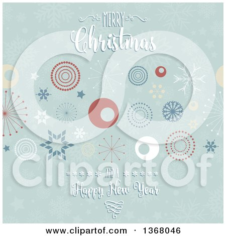 Clipart of a Merry Christmas and a Happy New Year Greeting over Retro Circles, Stars and Snowflakes - Royalty Free Vector Illustration by KJ Pargeter