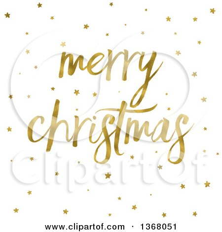 Clipart of a Golden Merry Christmas Greeting and Stars on White - Royalty Free Illustration by KJ Pargeter